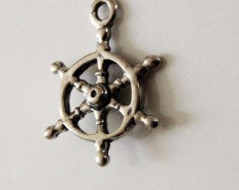Ships Wheel Sterling Silver Charm
