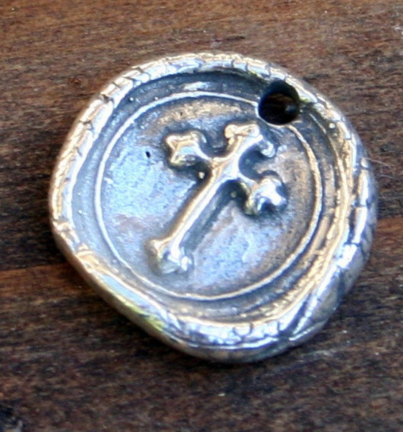 Cross Wax Seal Style Charm Sterling Silver  CHS22