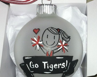 Cheerleader Girl Christmas Ornament, Niece, Sister, Daughter, Personalized, Football, Basketball, College Custom Junior Bridesmaid