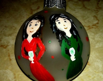 BFF Best Friends Sisters  Ornament Christmas Decor Hand Painted Original Art Personalized Best Friends Gift, Drinks GNO Girl's Night Out