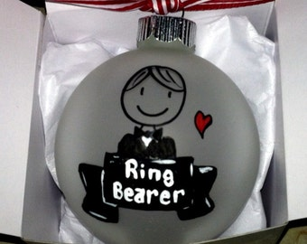 Ring Bearer Christmas Ornament, Nephew, Brother, Son, Little Boy, Personalized Wedding Party Thank You Gift  Custom Little Man Gift
