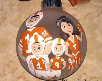 Personalized Family College High School Football Vols Any Team House Divided Family Custom Ornament Christmas Hand Painted Original Art
