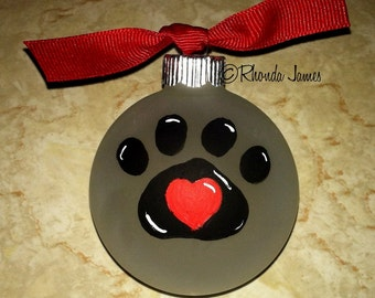 Veterinarian Staff Gift, Christmas Ornament, Pet Doctor, Technician, Animal Hospital, Paw Print, Heart, Thank You