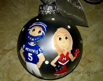 House Divided Personalized College High School Football Any Team Family Custom Ornament Christmas Hand Painted Original Art