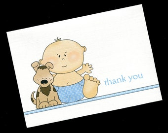 baby shower thank you cards baby boy baby boy with dog baby boy thank you cards blank cards note cards set of 20