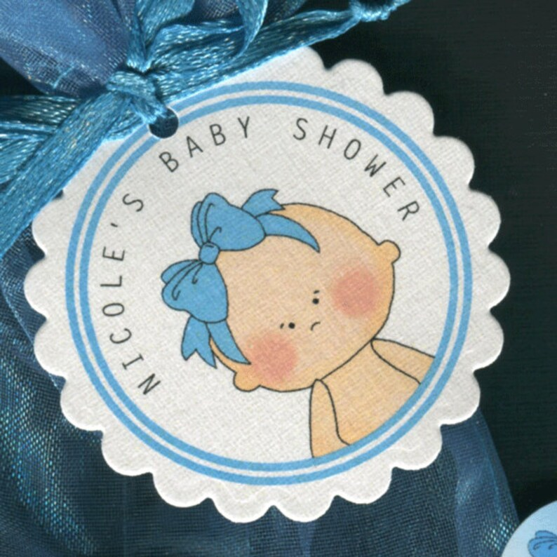 Baby Girl Wearing Bright Blue Bow Set Of 50 Round Scallop Tags Personalized Baby Girl Baby Shower Favor Tags