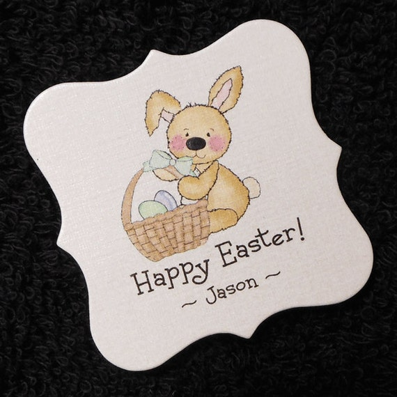 Personalized easter gift tags candy tags bunny with easter basket personalized easter gift tags candy tags bunny with easter basket set of 20 from susiedees on etsy studio negle Image collections