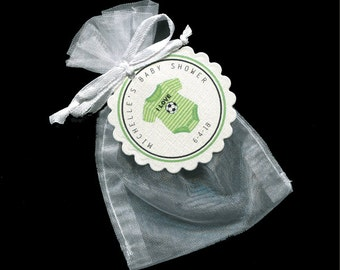 Personalized  Baby Shower Favor Tags and Bags for Baby Boys - Personalized Tag - Soccer Tag - Green - Organza Bag - Favor Bags