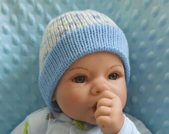 Newborn Knit Hat - Knit Hat for Newborn - Baby Hat - Baby Knit Hat - Shower Gift - Baby Boy Hat - Blue - Baby Gift - Knitted Hat