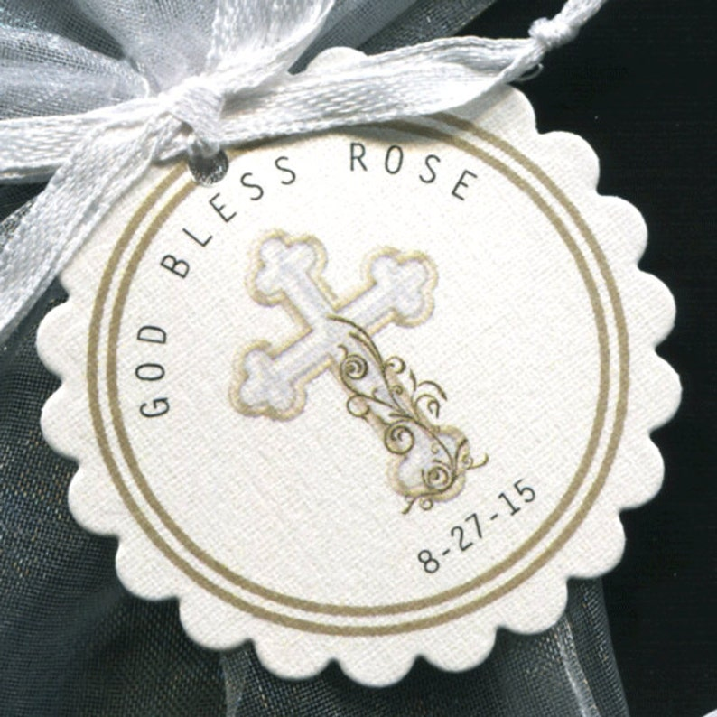 gold cross Personalized Baptism Christening Communion Favor Tags