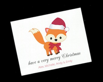 Personalized Christmas Card - Fox - Blank Card - Christmas Note Cards - Greeting Cards - Set of 10