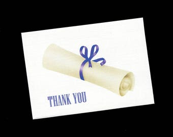 Graduation Thank You Cards - Note Cards - Blank - Diploma - Purple