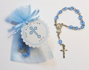 30 Mini Rosary Favors - Baby Boy Baptism Favors - Christening Favors - Organza Bag - Rosary Favors - Blue - Mini Rosary - Cross