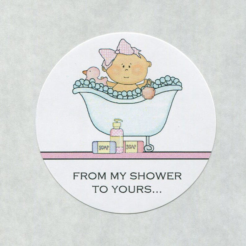 Baby Girl in Tub 2 Inch Stickers Soap Stickers Pink Baby Shower Stickers From My Shower To Yours