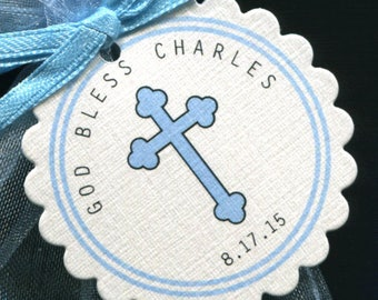 Baptism Favor Tags - Christening Favor Tags, Communion Favor Tags - Personalized - Blue - Cross - Baby Boy - Thank You Tags - Round