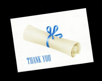 Graduation Thank You Cards - Note Cards - Blank - Diploma - Blue