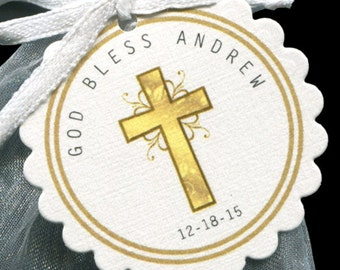 Baptism Favor Tags - Christening Favor Tags - Communion Favor Tags - Personalized - Gold - Cross - Scallop Border