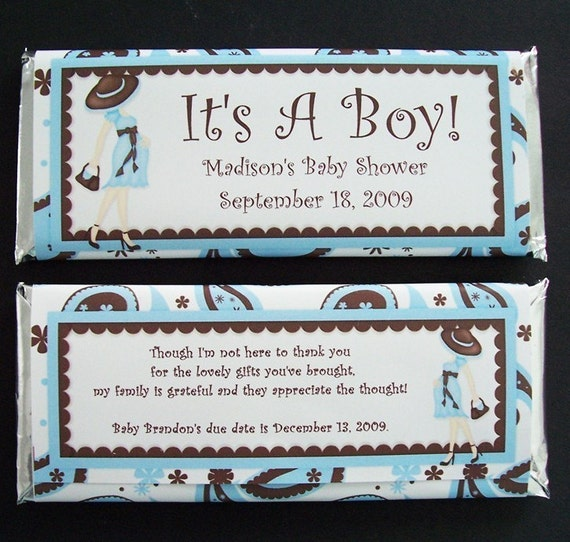 Personalized Candy Bar Wrappers Baby Shower Favors Set Of 20 Etsy