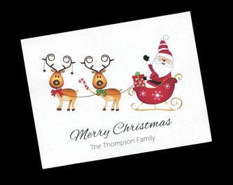 Personalized Christmas Card - Santa with Reindeer - Blank Inside - Christmas Note Cards - Greeting Cards - Set of 10