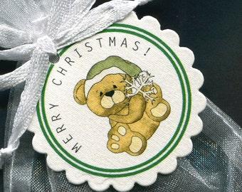 Christmas Gift Tags - Holiday Gift Tags - Christmas Tag - Christmas Favor Tag - Candy Tag - Holiday Tags - Bear - Set of 25