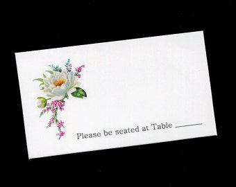 Place Cards - Table Cards - Wedding - Bridal Shower - White and Pink Flowers - Table Tents