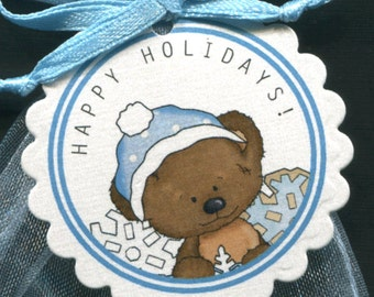 Christmas Gift Tags - Holiday Gift Tags - Christmas Tag - Christmas Favor Tag - Candy Tag - Holiday Tags - Bear With Blue Hat - Set of 25