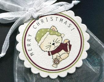 Christmas Gift Tags - Holiday Gift Tags - Christmas Tag - Christmas Favor Tag - Candy Tag - Holiday Tags - Kitty - Set of 25