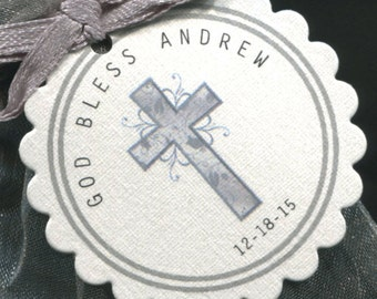 Baptism Favor Tags - Christening Favor Tags - Communion Favor Tags - Personalized - Silver - Cross - Scallop Border