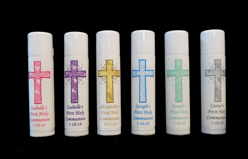 Vanilla Lip Balm -Cross Girls Lip Balm First Communion Party Favors Personalized Lip Balm Favors Boys Thank You Gift