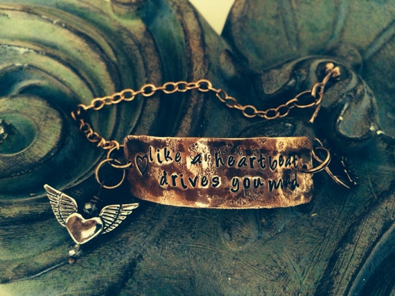 Quote ART DECO hand stamped Bracelet,Aluminum,engraved cuff,inspirational music cuff Fleetwood Mac~Stevie Nicks Dream Song~ Crystal Visions