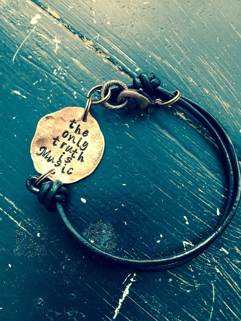The only truth is music quote bracelet or necklace Jack   Etsy