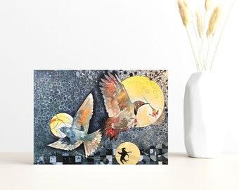 "Buy 4 Cards, Get a 5th Free! - ""Three Moons"" Greeting Card -5x7 - Blank Inside - Bird Card - Indigo Blue Sky - Whimsical - Watercolor Art"