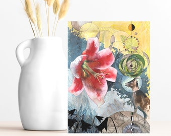 """Buy 4 Cards, Get a 5th Free! - """"Gaze Inside"""" Greeting Card -5x7 - Blank Inside - Animal Card - Watercolor Pink Lily - Uplifting Gift Card"""