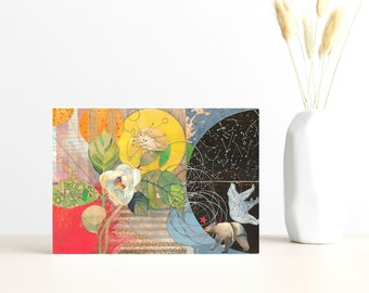 """Buy 4 Cards, Get a 5th Free! - """"Bear's Magnolia"""" Greeting Card -5x7 - Blank Inside - Black Bear Card - Watercolor Flower - Constellations"""