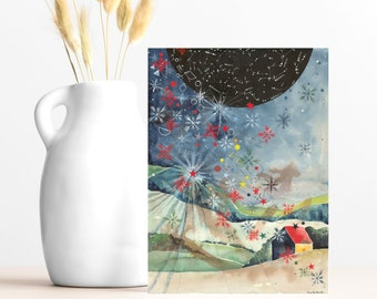 """Buy 4 Cards, Get a 5th Free! - """"Stars & Snowflakes"""" Greeting Card -5x7 - Blank Inside - Holiday Card - Winter Starry Sky - Constellations"""