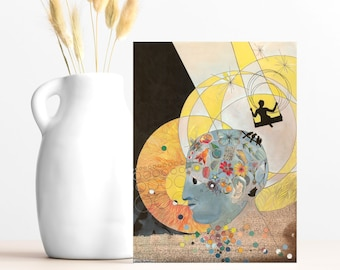"""Buy 4 Cards, Get a 5th Free! - """"Now I See"""" Greeting Card -5x7 - Blank Inside - Phrenology Head Card - Girl on a Swing - Watercolor Gift Card"""