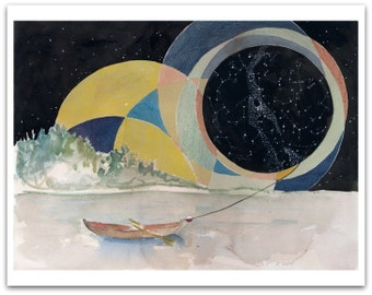 Safe Harbor Greeting Card with Envelope - Watercolor Card - Constellations -Boat - 5x7 Blank
