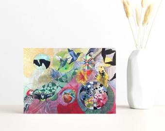 """Buy 4 Cards, Get a 5th Free! - """"Love Found"""" Greeting Card -5x7 Blank Inside - Sweethearts Animal Card - Watercolor Gift Card - Hummingbird"""