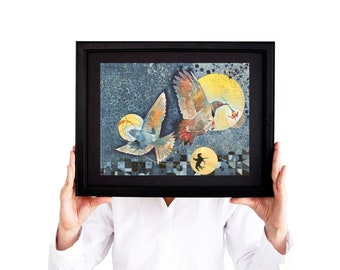 Three Moons Art Print - 11x14 - Limited Edition Giclée - Watercolor Night Sky - Wanderlust Print - Bird Art Work - Nature Lover Home Decor