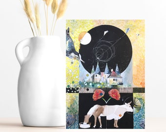 """Buy 4 Cards, Get a 5th Free - """"Night & Day"""" Greeting Card w/ Envelope - 5x7 - Watercolor Card - Red Poppy Lover - Wanderlust - French Castle"""