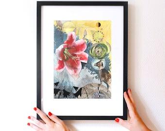 Gaze Inside Art Print - 11x14 - Limited Edition Giclée - Unframed - Watercolor Lily - Wanderlust - Botanical Decor - Watercolor Wall Art