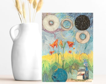 "Buy 4 Cards, Get a 5th Free! - ""Blue Jay"" Greeting Card -5x7 - Blank Inside - Bird Card - Blue Bird Gift Card - Bird Lover - Constellations"