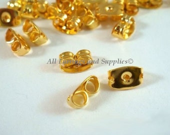 100 pieces Gold tone Pierced Earring post nut with pads backing 6 x 11.40mm