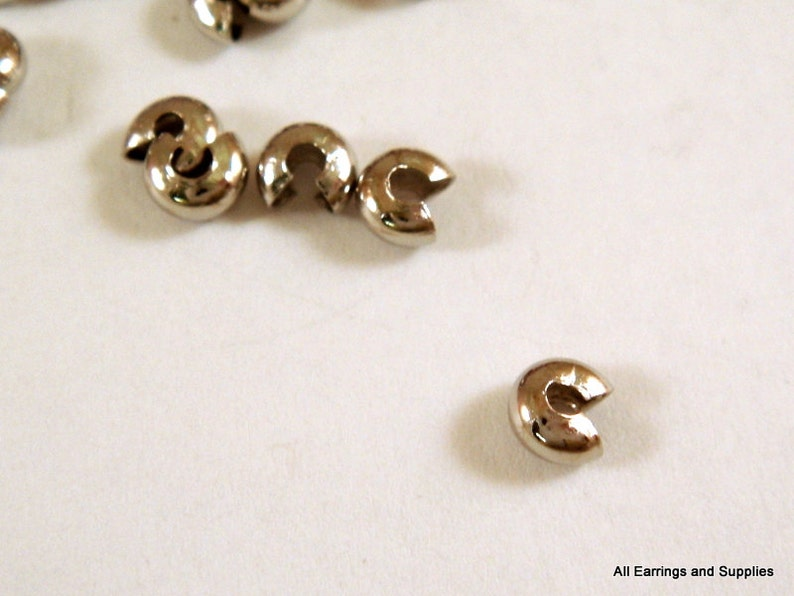 50 pcs 3mm or 4mm GOOD QUALITY Silver PLATED CRIMP BEAD COVERS