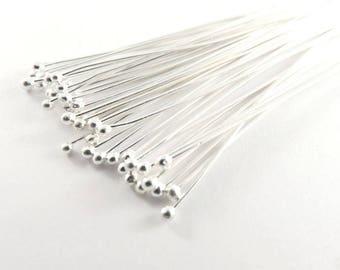 100 Ball Headpins Silver 2.25 inch 21-22 Gauge Plated Brass Ball Pin 1.5 Ball - 100 pc - F4098BHP-S100