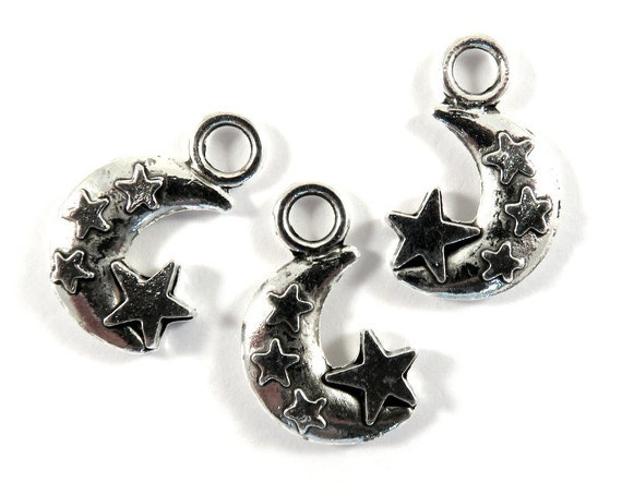 10 x 8mm LF NF CF 50 x Silver Plated Star Charms Small Stars