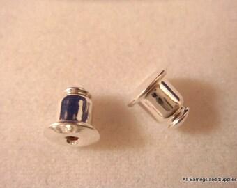 60 Silver Earring Backs Earnut Plated Barrel Type - 60 pc - 5899-2