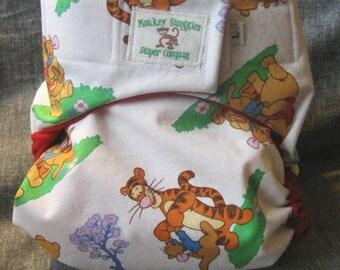 Winnie the Pooh pocket cloth diaper large