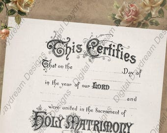 Victorian Style Printables Wedding Certificate Marriage Certificate Instant Download No 8 Vintage Wedding Roman Catholic Wording