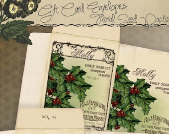 Printable Holiday Gift Card Envelopes Set Vintage Christmas Florals Seed Packs Instant Digital Download Tree Decoration Ornaments